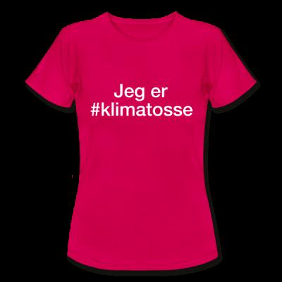 Klimatosse – hashtag som tryk på t-shirt - #Klimatosse