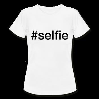 Selfie - hashtag som tryk på t-shirt - #selfie