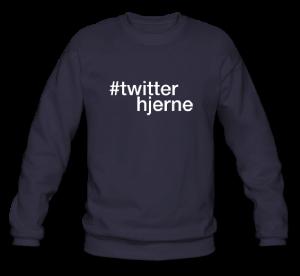 Twitterhjerne - hashtag som tryk på t-shirt - #twitterhjerne